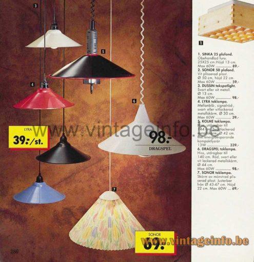 IKEA Lyra Pendant Lamp - 1992 IKEA Catalogue Picture