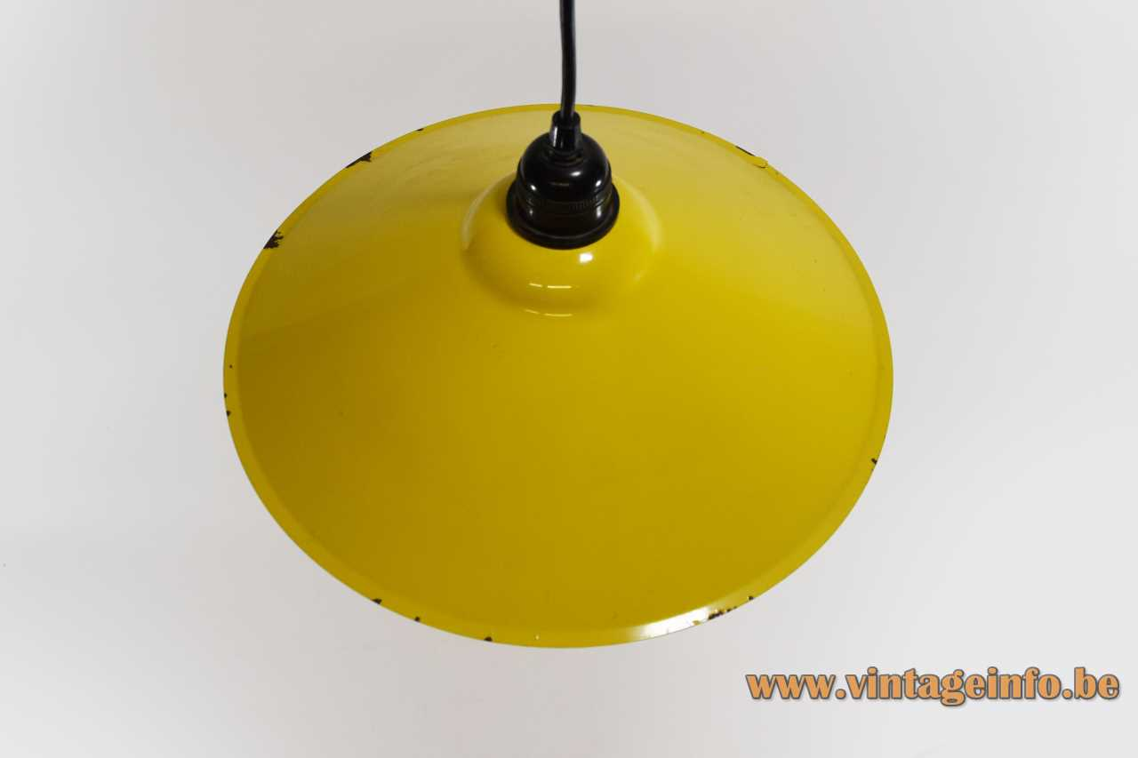 IKEA Lyra pendant lamp yellow & white painted round metal lampshade 1980s 1990s Sweden The Netherlands