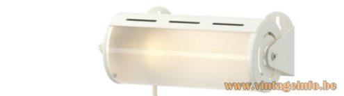 IKEA SMYG wall lamp round white metal cylinder tubular acrylic lampshade 2000s E14 socket Sweden