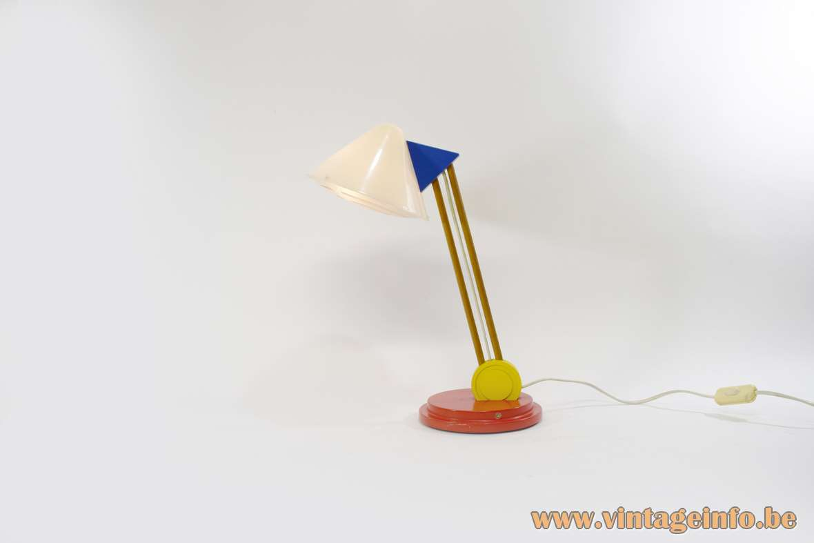 IKEA Stoja desk lamp red wood base white acrylic conical lampshade yellow ring blue triangle 1990s