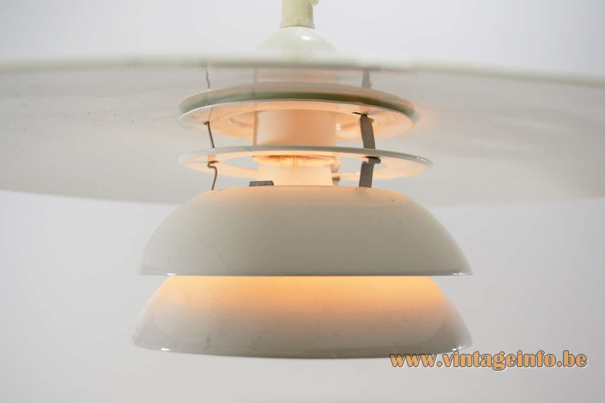 IKEA Vinter pendant lamp big white iron disc lampshade metal slats & rings Sweden 1990s E27 socket