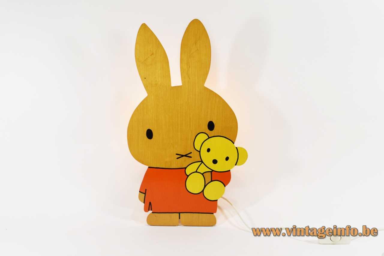 Miffy Nijntje wall lamp orange-yellow plywood lampshade rabbit picture books Dick Bruna 1990s Netherlands E14 socket