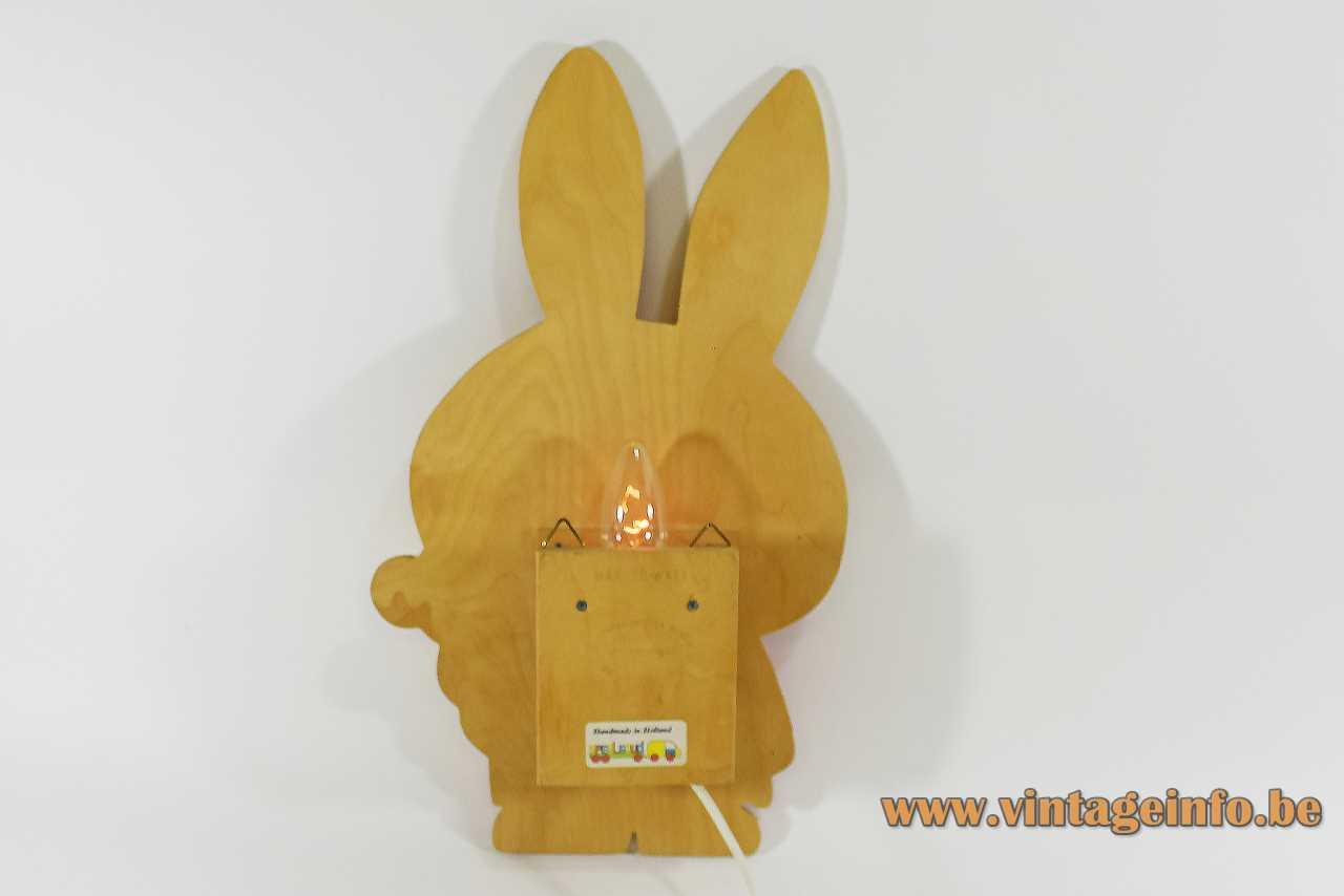 Miffy Nijntje wall lamp orange-yellow plywood lampshade rabbit picture books Dick Bruna 1990s Netherlands back