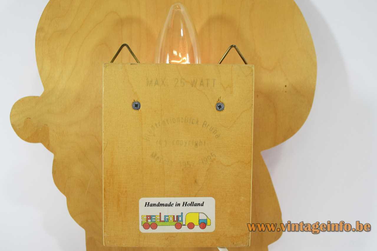 Miffy Nijntje wall lamp plywood lampshade label logo 1995 Dick Bruna 1990s Netherlands E14 socket