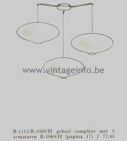 Raak Oval Ceiling Lamp B-1069 - 1962 Catalogue Picture