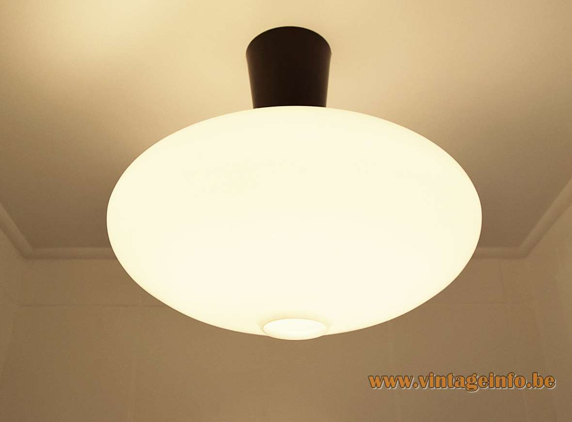 Raak oval ceiling lamp B-1069 flush mount opal glass lampshade black metal conical tube 1950s 1960s