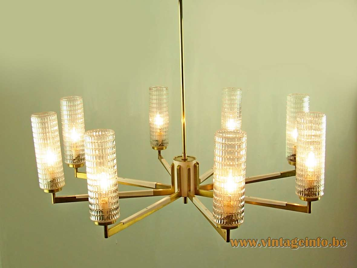 Völker Hamburg spider chandelier brass rods cream decorations 8 tubular embossed glass lampshades 1950s 1960s Germany