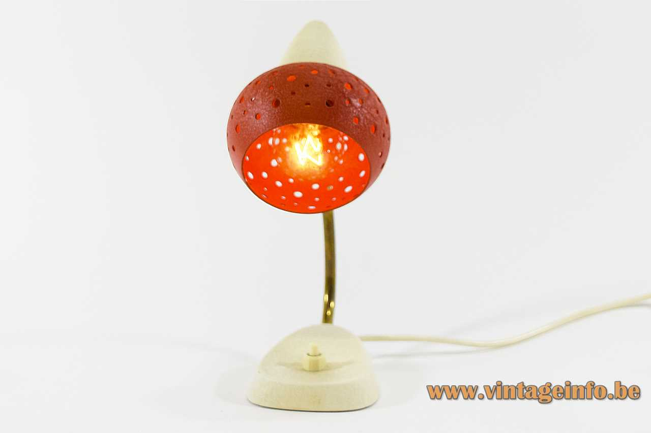 Wrinkle paint bedside table lamp cream base curved rod red holes lampshade Cosack Hillebrand 1950s 1960s