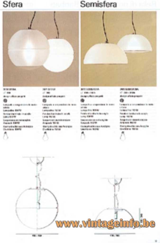 iGuzzini Sfera pendant lamp & Semisfera pendant lamp 1970s catalogue picture Harvey Guzzini Italy