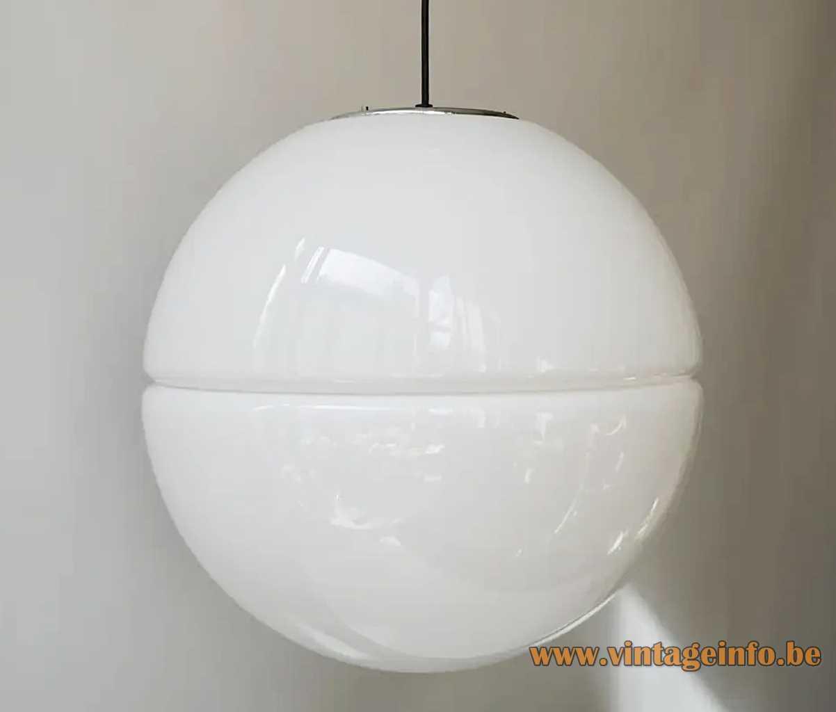 iGuzzini Sfera pendant lamp big white plastic globe lampshade 2 shells 1970s Harvey Guzzini Italy