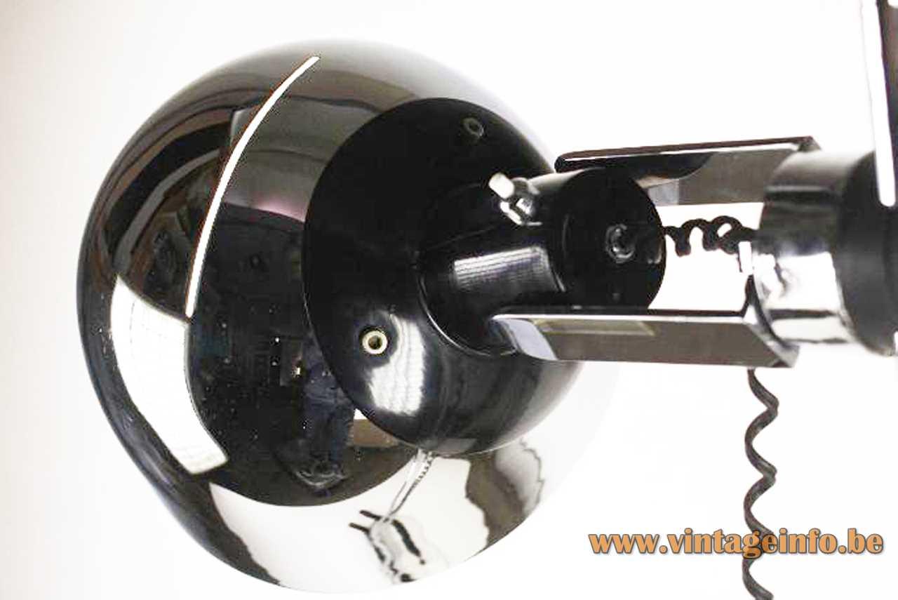 1960s Marset floor lamp design: Perez y Aragay double tube base chrome rods round lampshade Spain