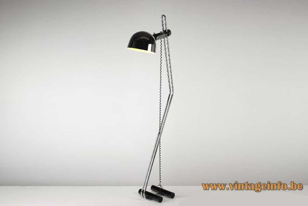 1960s Marset floor lamp design: Perez y Aragay double tube base chrome rods round lampshade Spain
