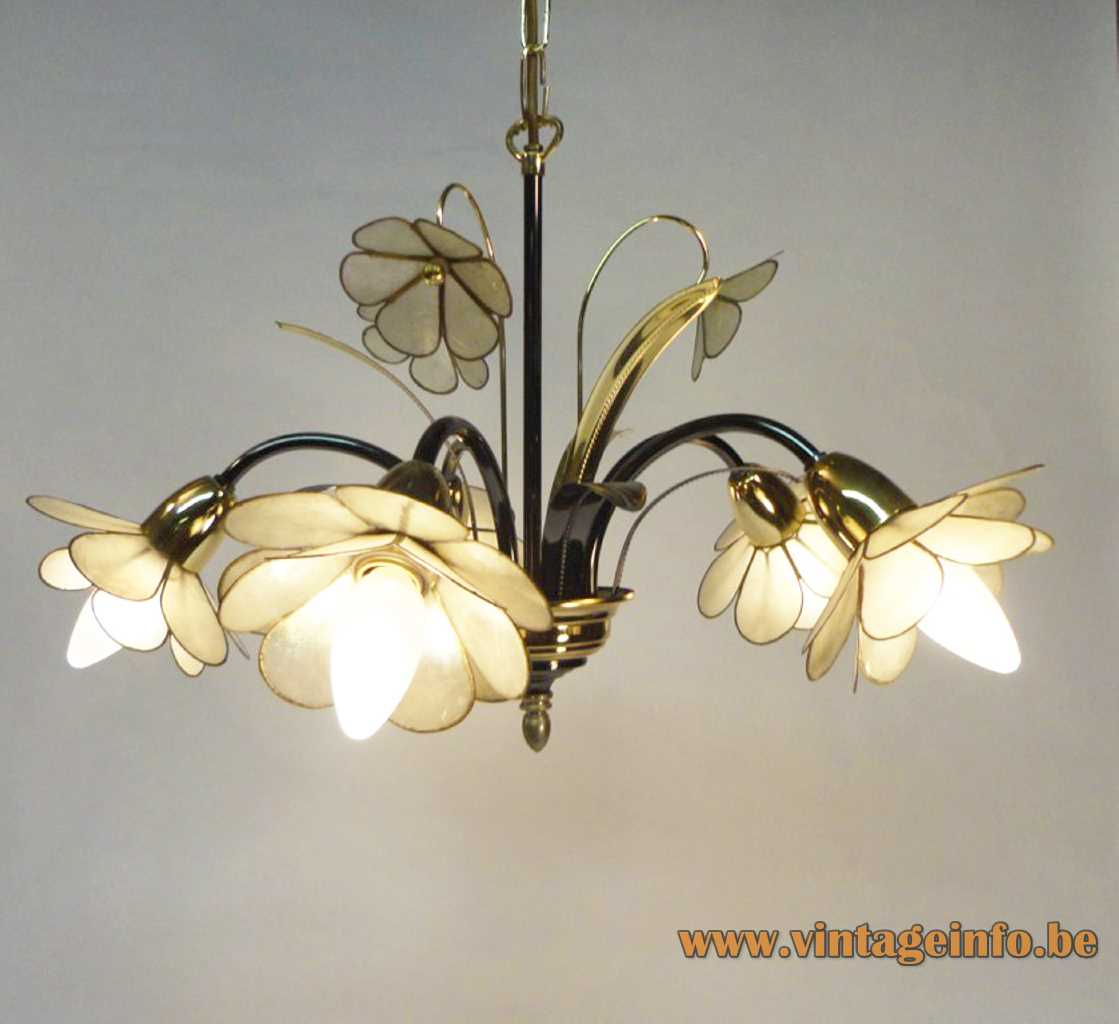 1980s Capiz flowers chandelier curved rods metal leaves 5 shell lampshades 1990s Massive Belgium E14 sockets