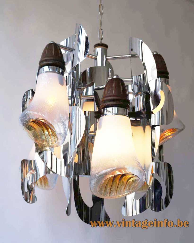 AV Mazzega horn chandelier chrome slats Murano glass trumpet lampshades 1960s design: Gianni Bruno Mazzega Italy
