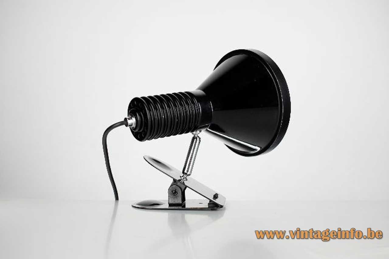 Black Tramo clamp lamp design: Estudi Blanc adjustable conical black spotlight lampshade 1970s Spain E27 socket