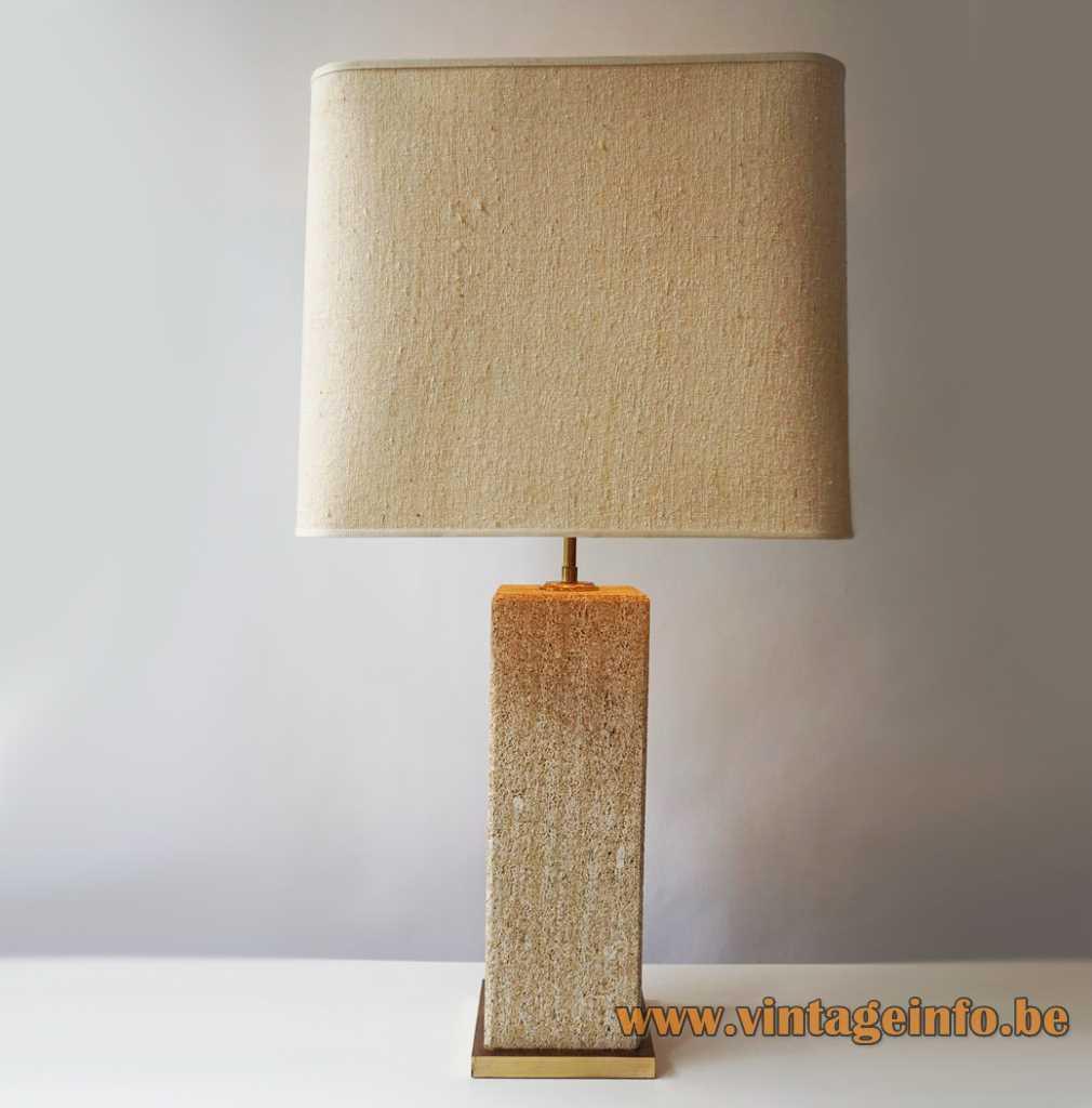 Camille Breesch sandstone table lamp square brass base & beam square fabric lampshade 1970s Belgium E27 socket