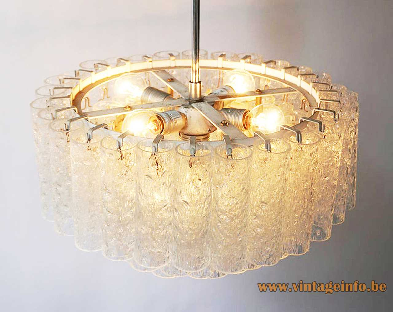 DORIA round glass tubes chandelier big lamp embossed cylinders chrome rod iron frame 1960s 1970s Germany