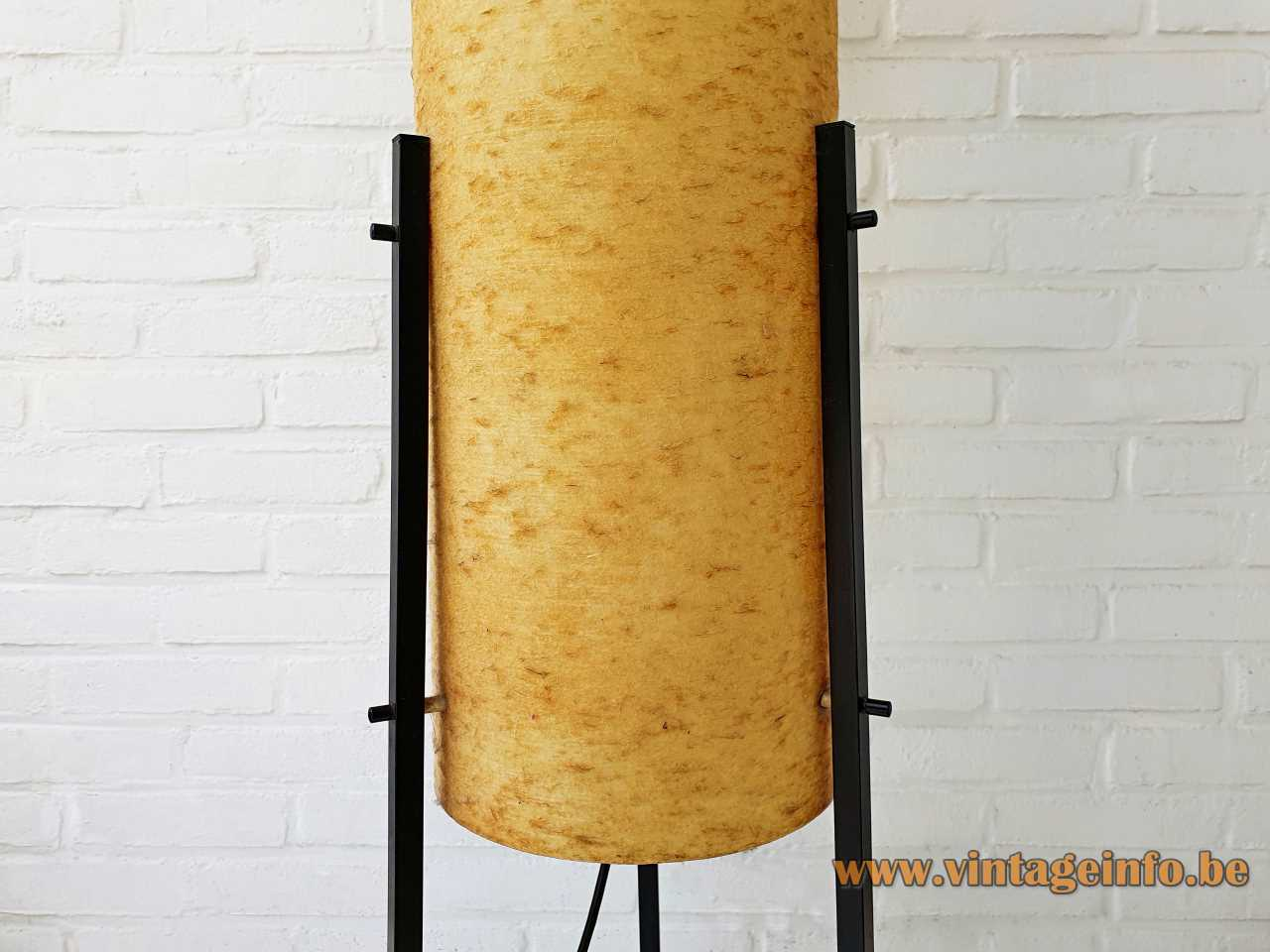 Dame & Co rocket floor lamp tripod base yellow tubular fibreglass lampshade 1960s Germany 3 E27 sockets