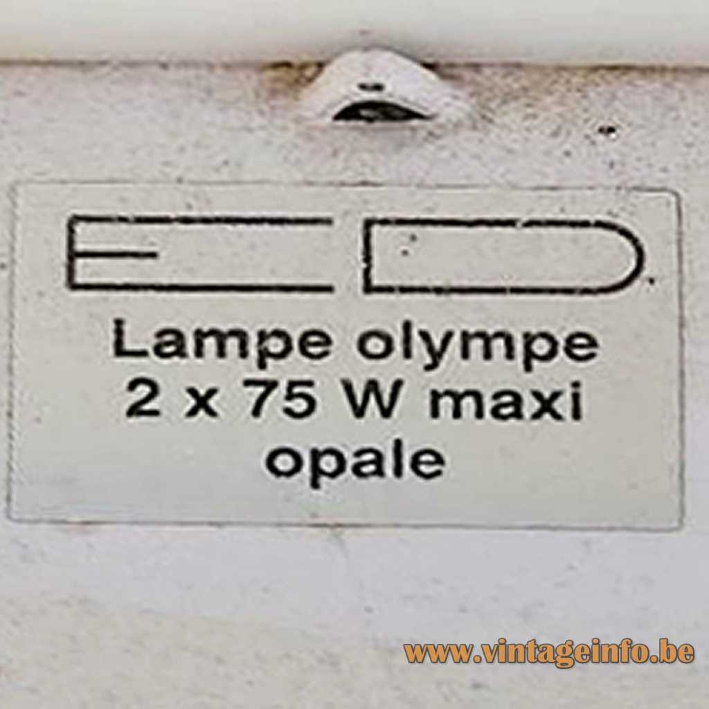 E D Lampe Olympe France label