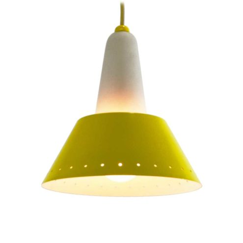 ERCO conical pendant lamp round yellow lampshade frosted opal cone diffuser 1950s 1960s Germany E27 socket