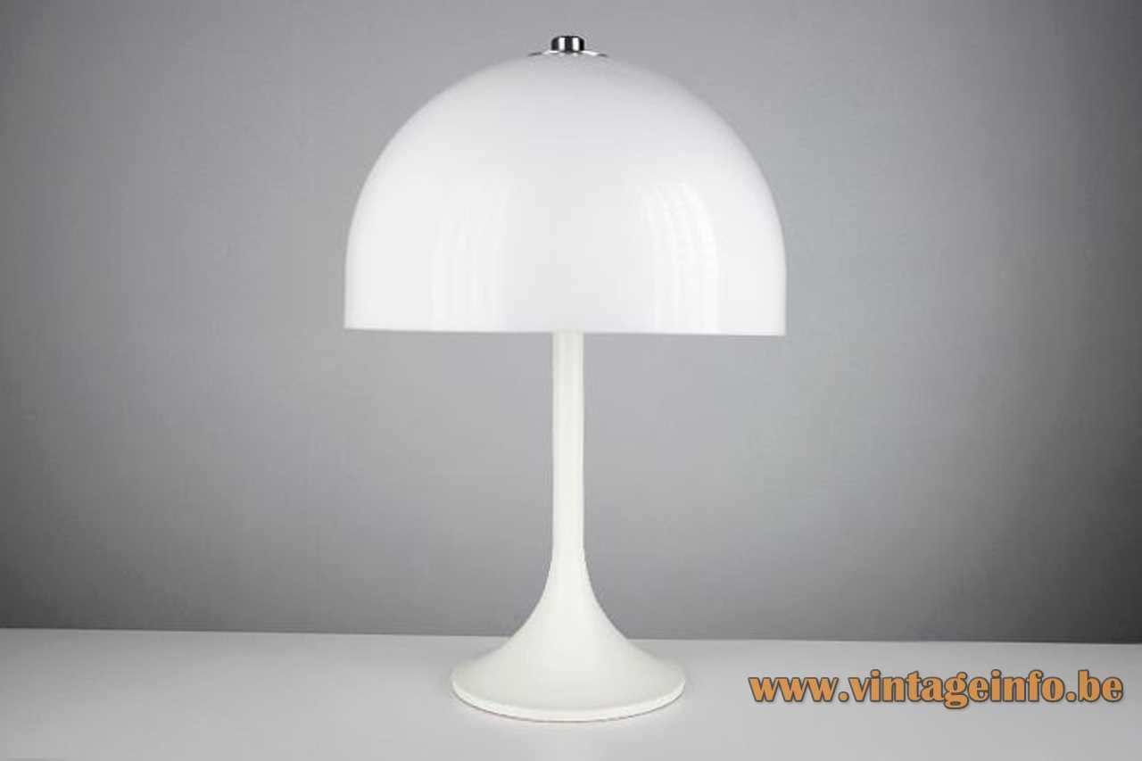 Estudi Blanc Tramo mushroom table lamp round white base half round acrylic lampshade 1960s Spain