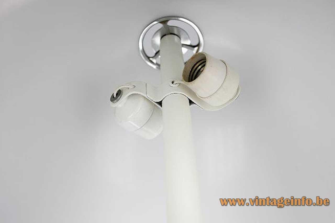 Estudi Blanc Tramo mushroom table lamp round white base half round acrylic lampshade 1960s Spain inside