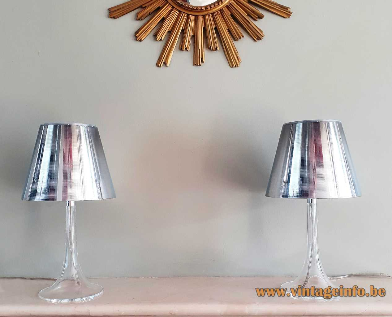 FLOS Miss K table lamp clear round base conical striped silver lampshade 2003 design: Philippe Starck