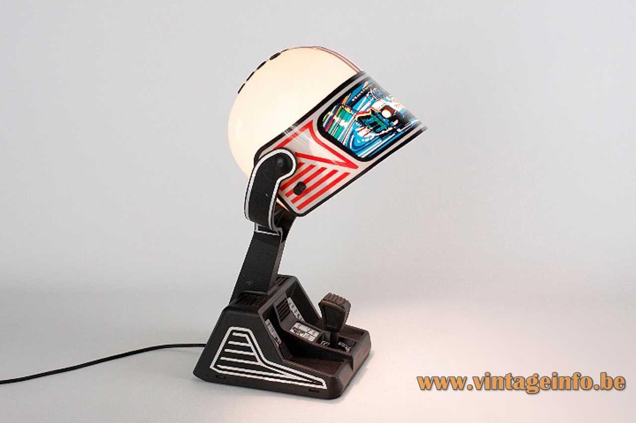 Fase Formula 1 table lamp black plastic base white & red acrylic helmet lampshade 1980s Madrid Spain
