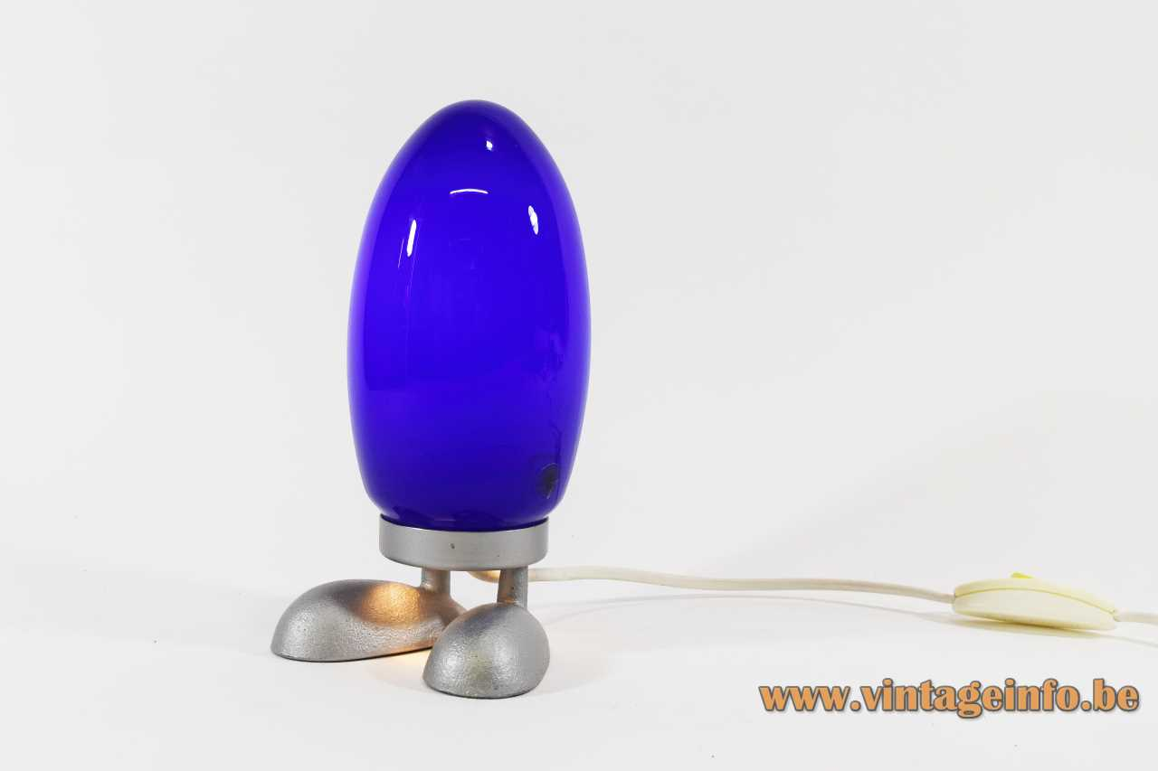 IKEA Fjorton table lamp cast iron base hand blown blue opal oval globe lampshade 2000s Sweden