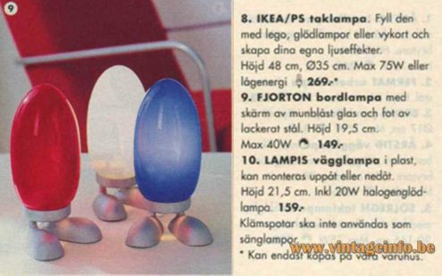 IKEA Fjorton table lamp cast iron base blue glass lampshade 2001 catalogue picture Sweden