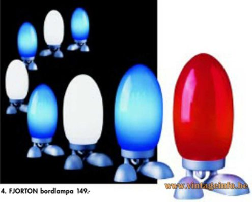 IKEA Fjorton table lamp cast iron base blue glass lampshade 2002 catalogue picture Sweden