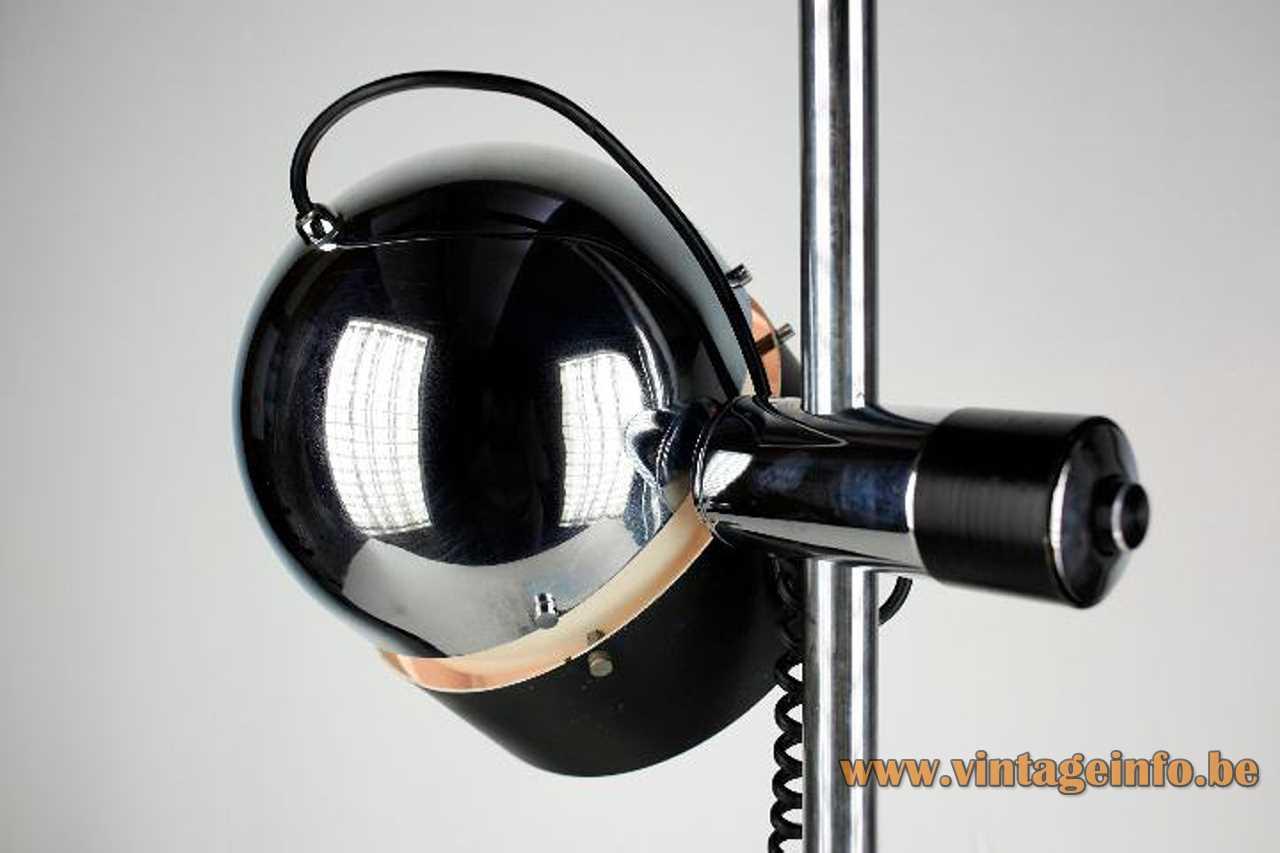 Josep Magem desk lamp 1970s design chrome rod black half round lampshade Madom Spain E27 socket