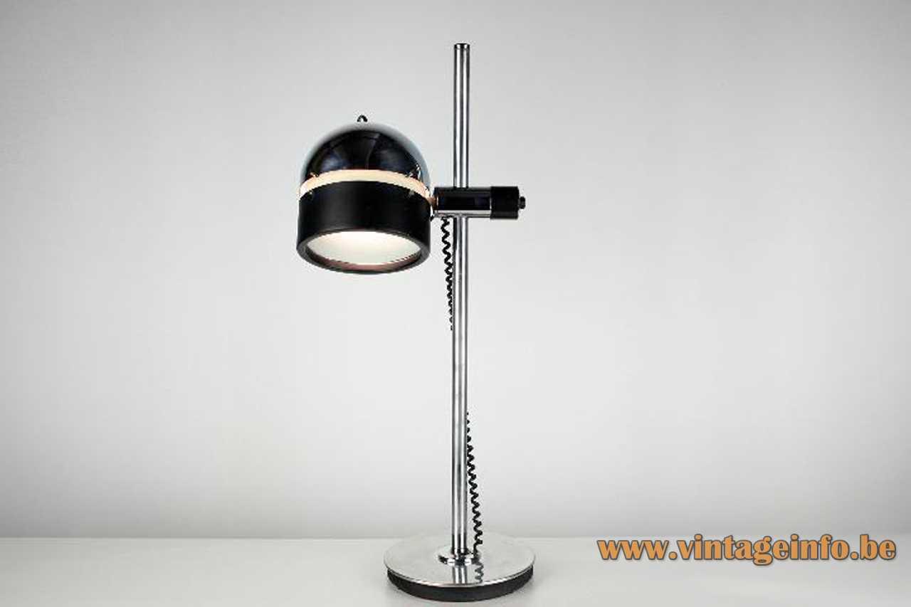 Josep Magem desk lamp 1970s design chrome base & rod black half round lampshade Madom Spain E27 socket
