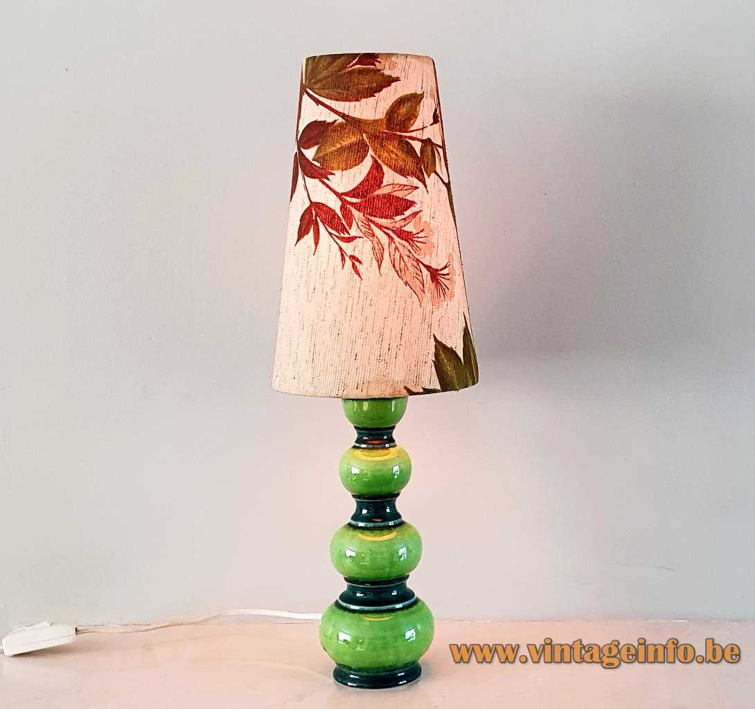 Kaiser Leuchten stacked globes table lamp round ceramics base conical fabric autumn leaves lampshade 1960s Germany