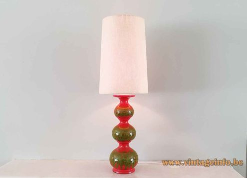 Kaiser Leuchten stacked globes table lamp green & red ceramics base conical fabric lampshade model 08730