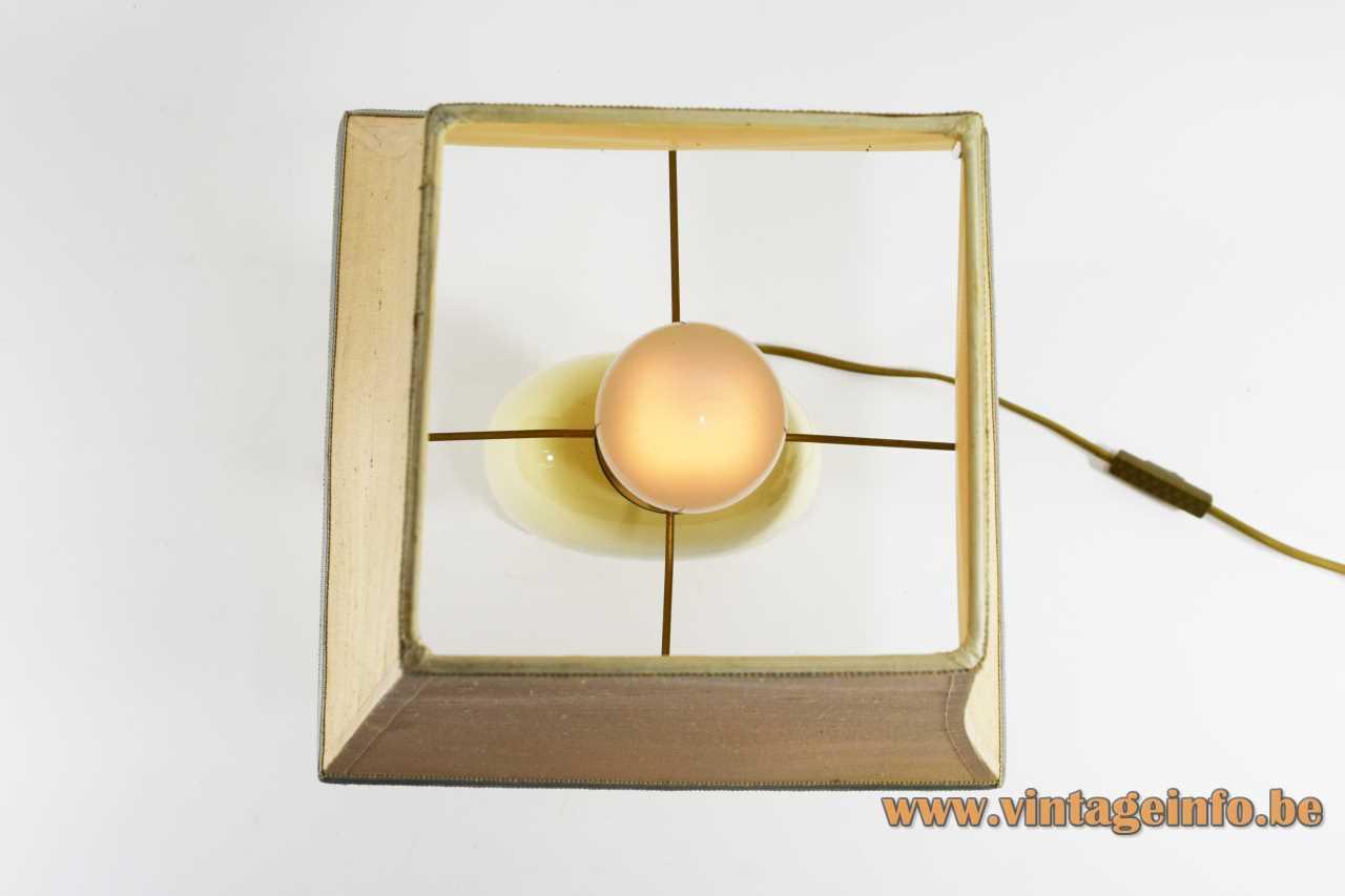 Le Dauphin globe table lamp rectangular base ceramic sphere disc pagoda lampshade 1980s France E27 socket