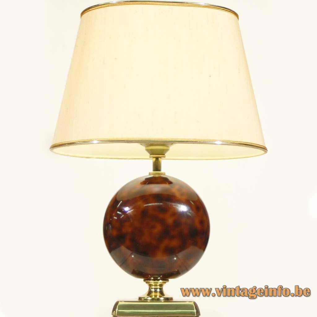 Le Dauphin globe table lamp rectangular base ceramic sphere disc conical lampshade 1980s France E27 socket
