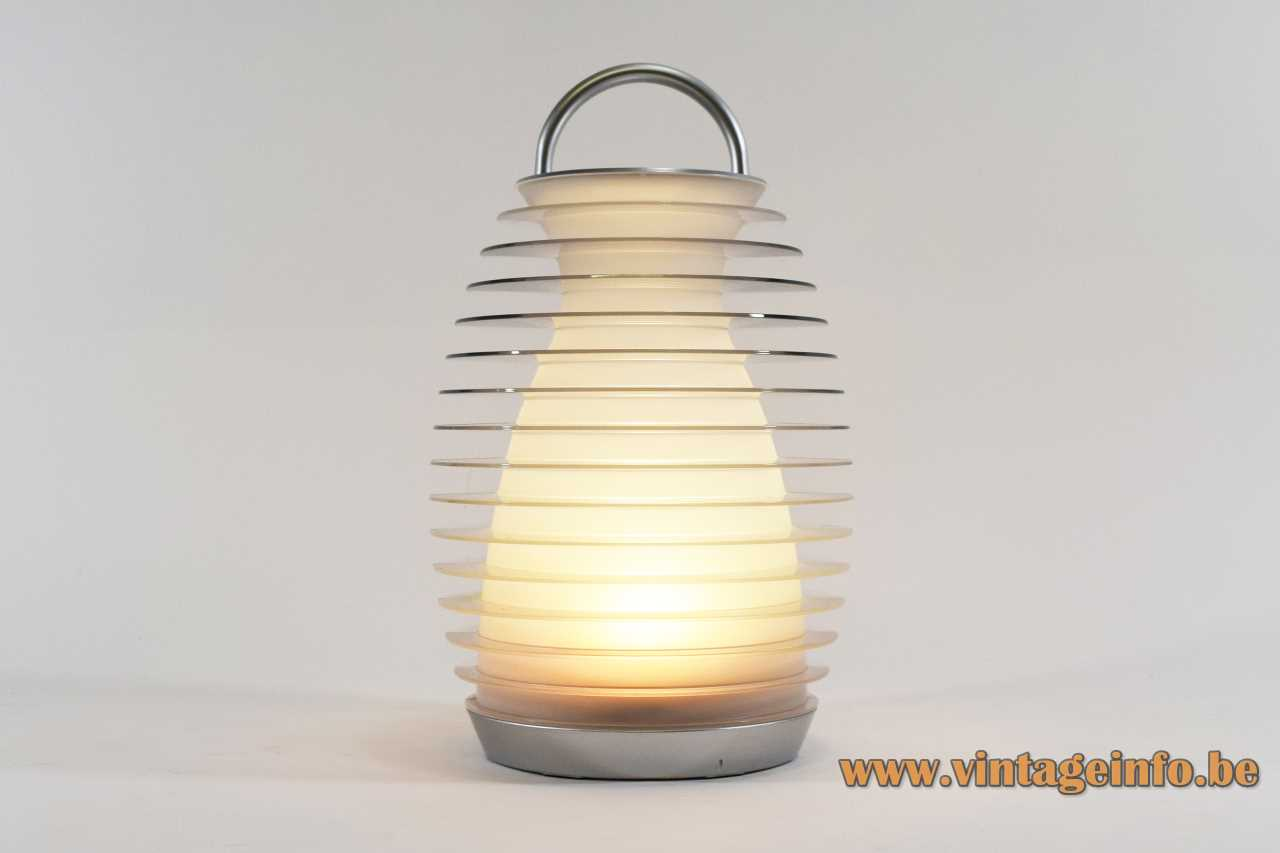 Mathmos Bump table lamp round base portable convex heatsink lantern lampshade LED 2000s United Kingdom