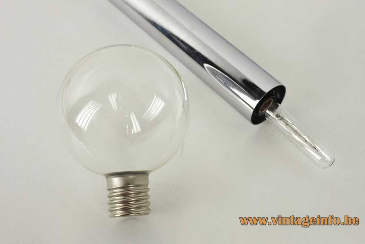 Motoko Ishii Staff pendant lamp chrome tube clear glass globe lampshade 1970s 1980s Germany E14 socket