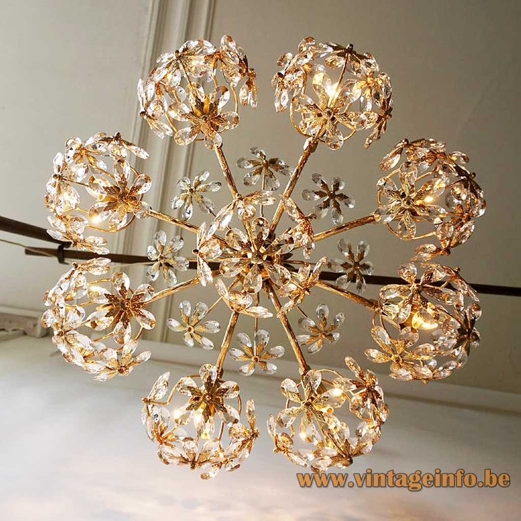 Palwa crystal beads chandelier gilt metal frame glass flower pearls round lampshade 1970s 1980s Germany