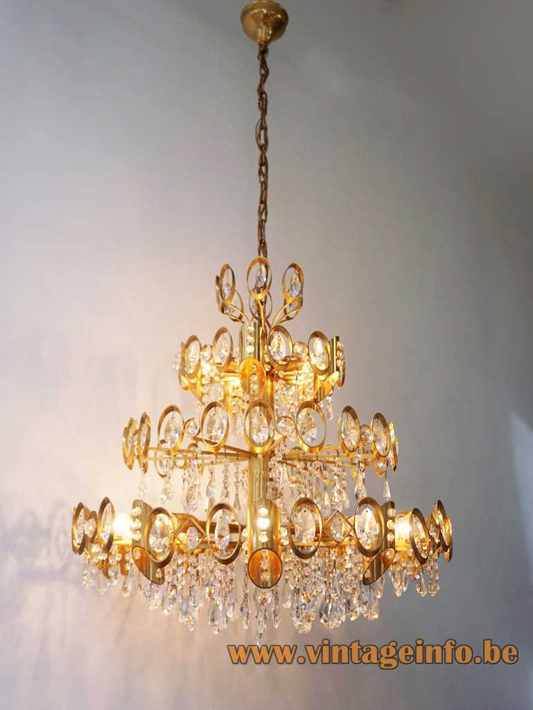 Palwa oval rings & crystal beads chandelier gilt metal frame round circles lampshade 1970s 1980s Germany
