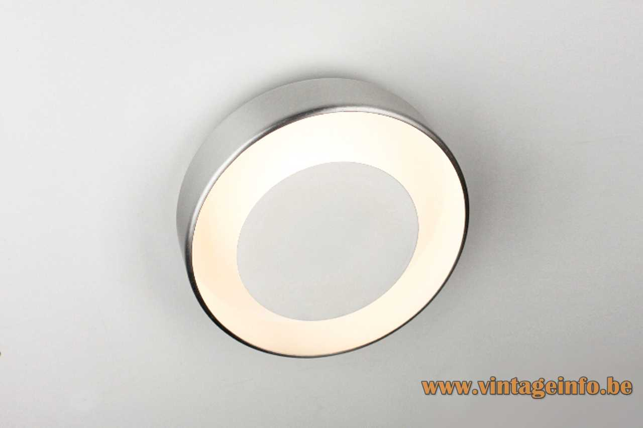 Philips round wall lamp anodised aluminium ring & disc lampshade 1970s The Netherlands E14 socket