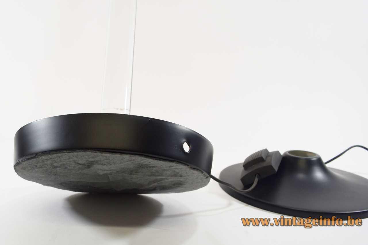 Plexiglass rod floor lamp round black base grey felt bottom clear acrylic lampshade 1960s 1970s Italy