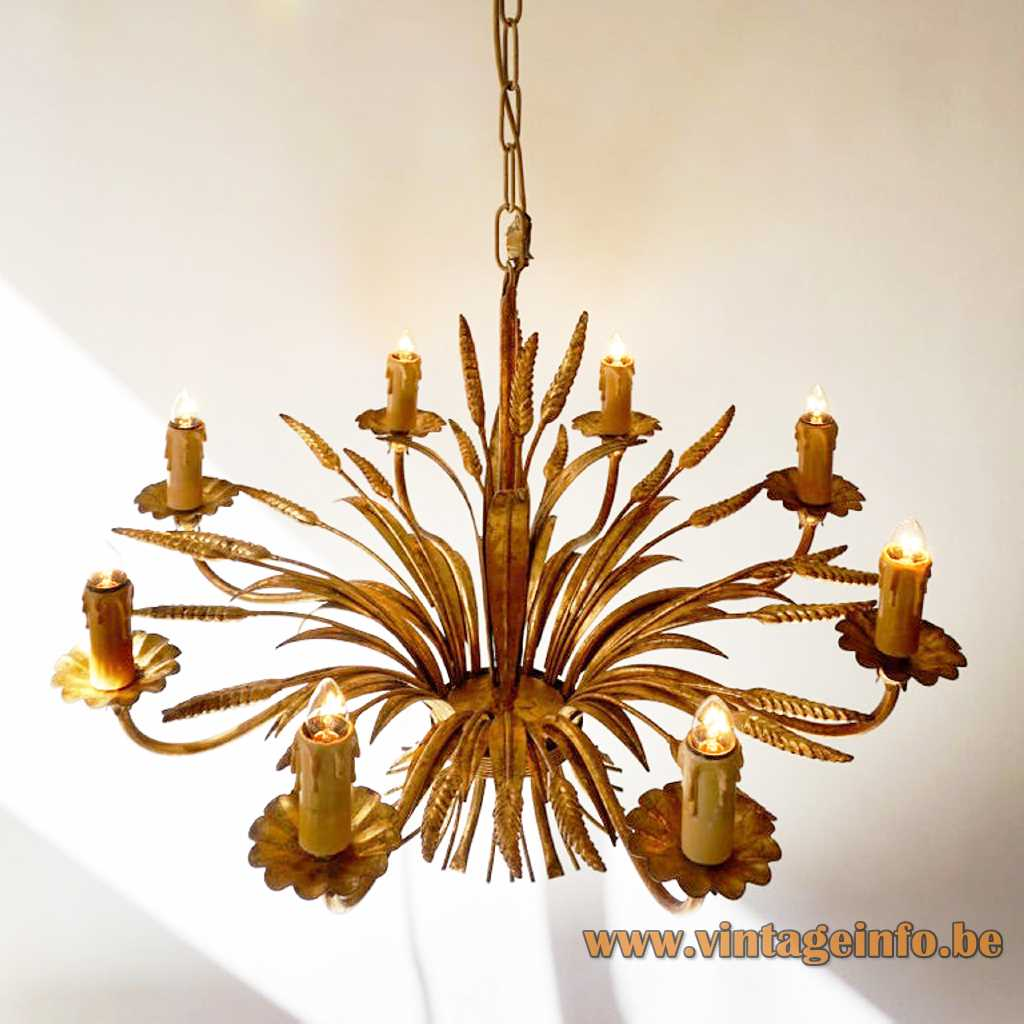 Sheaf of wheat toleware chandelier gold painted curved rods corn leaves lampshade 8 candlesticks 1970s 1980s