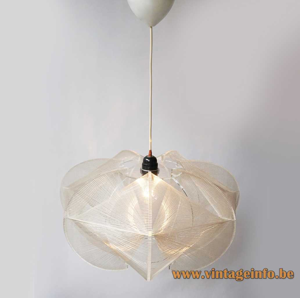 Sompex nylon thread pendant lamp clear acrylic slats braided wire round lampshade 1960s 1970s Germany
