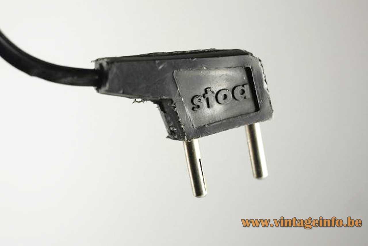 Stoa clamp desk lamp design: Lluís Porqueras black mouled plastic Stoa plug 1970s Spain