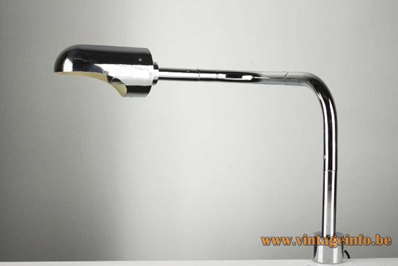 Stoa clamp desk lamp design: Lluís Porqueras round base adjustable chrome rod tubular lampshade 1970s Spain