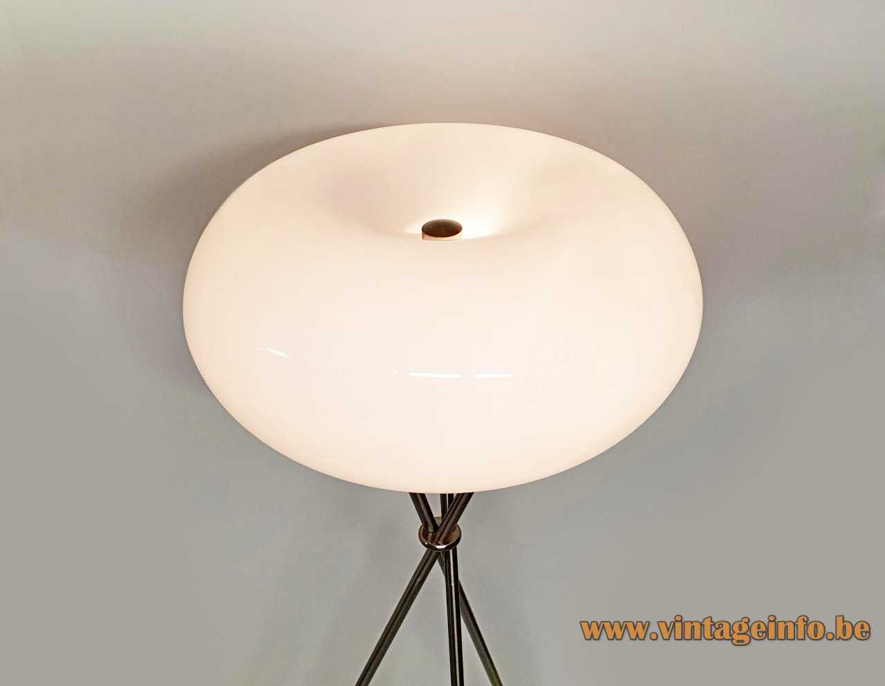 TRIO Leuchten Olympic floor lamp chrome tripod base white oval glass globe lampshade 1990s 2000s Germany
