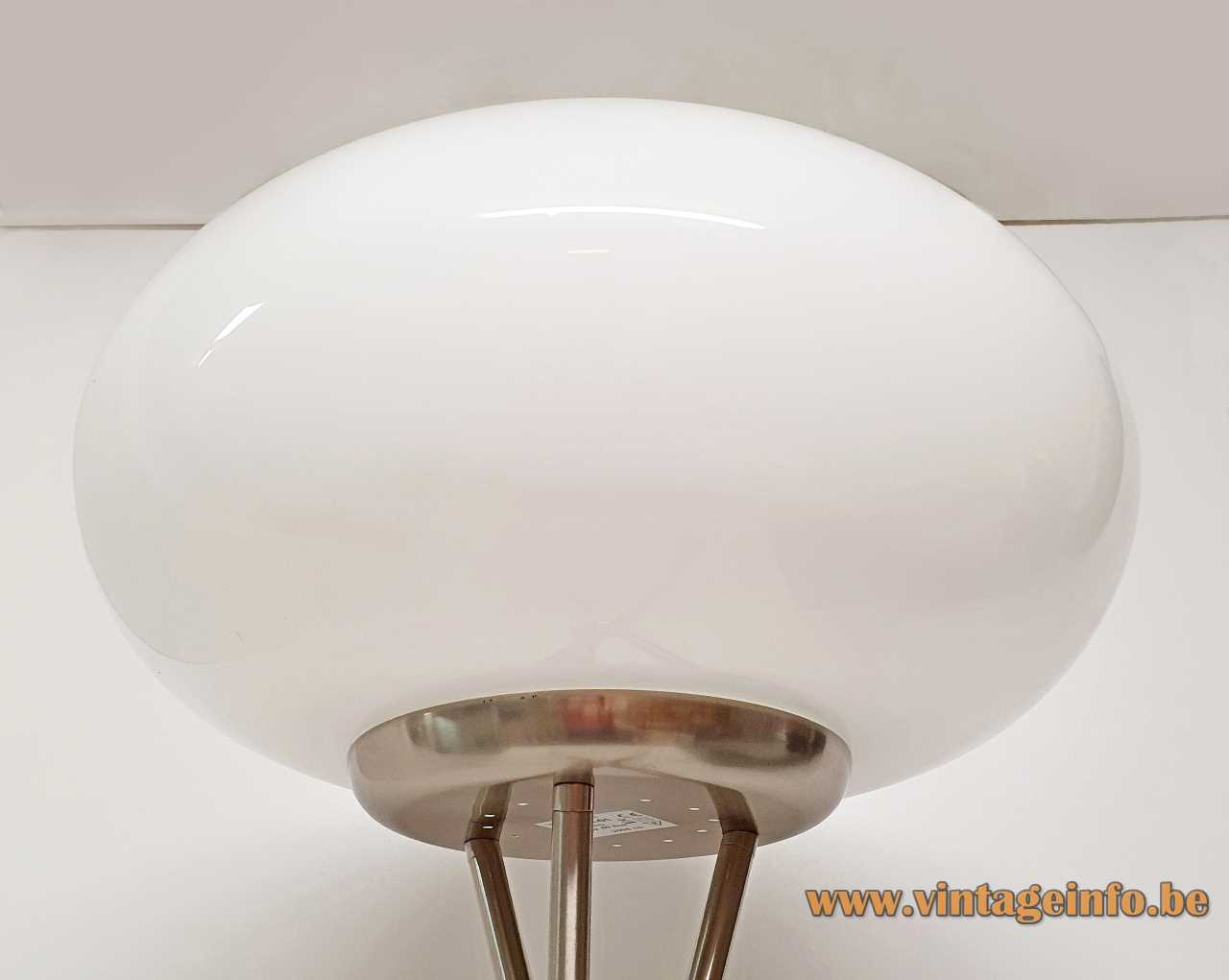 TRIO Leuchten Olympic floor lamp chrome tripod base opal oval glass globe lampshade 1990s 2000s Germany