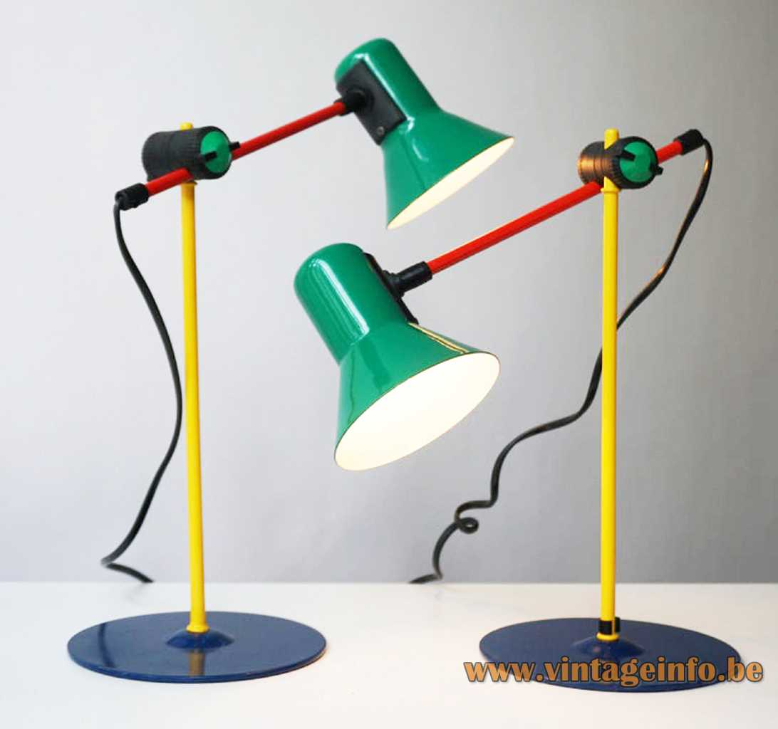 Veneta Lumi desk lamp round & flat blue base yellow red rod conical green lampshade 1990s Italy